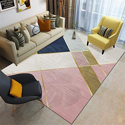 Kunsen alfombras habitacion Matrimonio Cuadros Juveniles Dormitorio Sala de Estar Alfombra geométrica Rosa Dormitorio balcón decoración Alfombra Juegos Bebe 50X80CM 1ft 7.7' X2ft 7.5'
