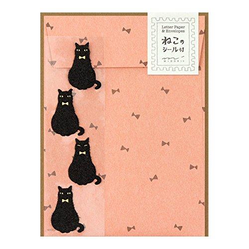 ミドリ レターセット 黒猫柄 シール付 86413006