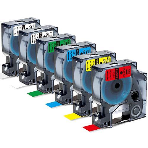 Markurlife Kompatible Etikettenband als Ersatz für DYMO D1 12mm Etikettenband für DYMO LabelManager 160 210D 280 LabelPoint 250 LabelWriter 450 DUO, 12 mm x 7 m, 6 Farben