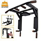 Slsy Multifunctional Wall Mounte Pull Up Bar and Dip Station, Wall Mounted Chin Up Bar for Home Gym, Power Tower for Home Gym, Supports to 440 Lbs