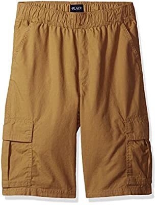 The Children's Place Big Boys' Pull-on Cargo Shorts, Flax, 12