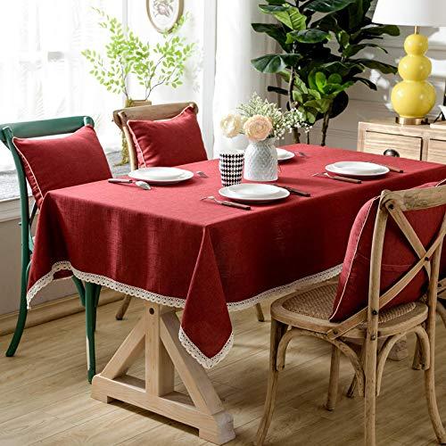 YCZZ Restaurante Engrosado Mantel marrón Oscuro, Mantel de Hotel de algodón Rectangular de Estilo Europeo, Mantel de café de Picnic Azul 130 * 170cm Rojo.