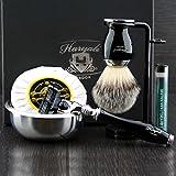 Haryali London Kit de afeitado clásico para hombre con 3 filos, cepillo de pelo de tejón sintético, soporte, jabón, cuenco y alumbrado, juego de regalo perfecto para hombres