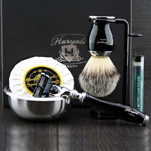 Haryali London 6 Pc Heren Scheren Kit 3 Edge Razor met Synthetische Badger Haar Scheerborstel, Standaard, Zeep, Bowl en Alum Perfecte Set voor Mannen