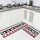 Carvapet 2 Piec Non-Slip Kitchen Rug TPR Non-Skid Backing Mat for Doorway Bathroom Runner Rug Set, Gow Design (17'x48'+17'x24')