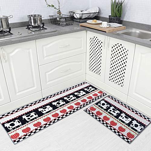 Carvapet 2 Piec Non-Slip Kitchen Rug TPR Non-Skid Backing Mat for Doorway Bathroom Runner Rug Set, Gow Design (17'x48'+17'x24')