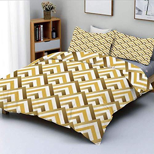 Juego de funda nórdica, Zig Zags triangulares inspirados en pirámides con detalles internos ArtDecorative Juego de ropa de cama de 3 piezas con 2 fundas de almohada, marrón claro, blanco y amarillo, e