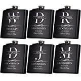 Set of 6, Groomsmen Gifts for Wedding | 3 Designs | Personalized Groomsmen Flasks w/Optional Gift Box, Bachelor Party Team, 6 oz. Custom Engraved Hip Flasks for Best Man and Groomsman Proposal #3