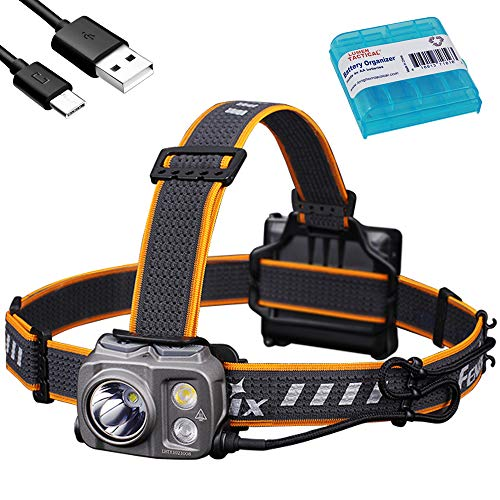Fenix HP16R 1700 Lumen USB-C Rechargeable Headlamp with Spotlight, Floodlight, Red Light and AA Compatibility