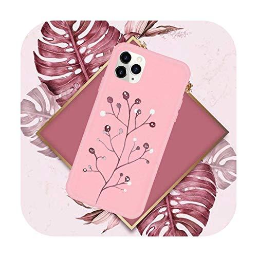 Funda para teléfono móvil con diseño de hojas rosadas para iPhone 11 12 Mini Pro XS MAX 8 7 6 6S Plus X SE 2020 XR-a8-iPhone6 o 6s