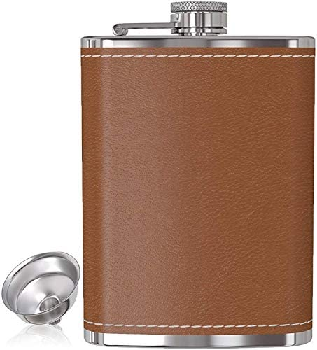 Flask for Liquor and Funnel 8 Oz Leak Proof 18 8 Stainless Steel Pocket Hip Flask with Brown product image