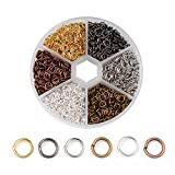 5mm 2300pcs Metal DIY Jewelry Findings Open Single Loops Jump Rings 6 Mixed Color for Jewelry Making Accessories (5mm)