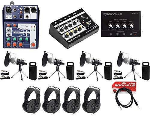 Soundcraft 4-Person Podcast Podcasting Recording Kit w/Mics+Stands+Headphones