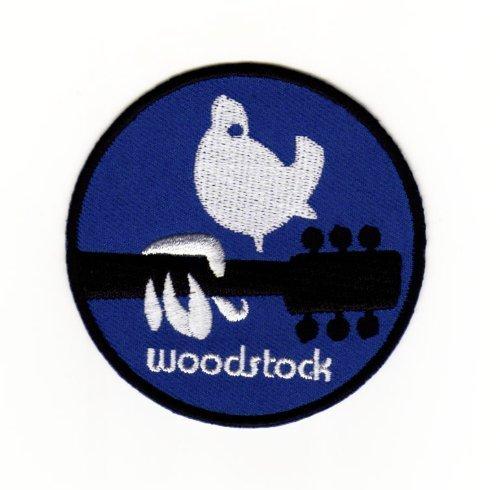 Aufnäher Bügelbild Aufbügler Iron on Patches Applikation Woodstock Peace Taube Frieden Gitarre Musik