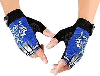 PQZATX Outdoor Children's Glove Ride Sport Fingerless Non-Slip Wear Resistant Gloves Skid Resistant Sun Protection Half-Finger Gloves