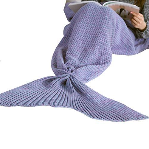5 Colori Coperta a Coda di Sirena Coperta da Donna Morbida Fatta a Mano Sacco a Pelo Coperta Lavorata a Maglia alla Moda Copriletti per Dormire a Coda di Pesce - Viola - 50x90