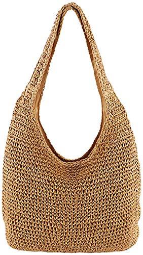 Bolso de hombro de paja tejido a mano para mujer Bolso grande de verano con asas de cuero para playa con cremallera 43,18x23,75x4,95 cm
