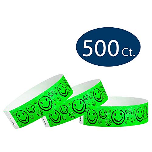 WristCo Neon Green Smiley Face 3/4' Tyvek Wristbands - 500 Pack Paper Wristbands for Events