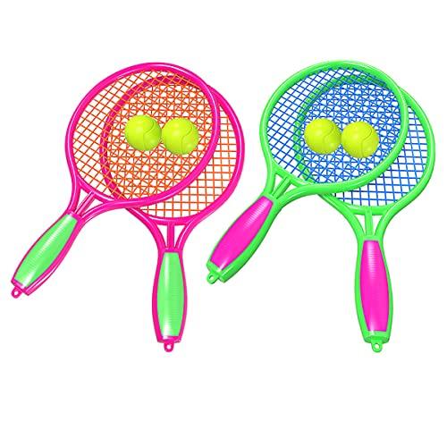 Biluer 2 Paires Raquettes de Tennis Raquettes de Badminton Raquette de Plage Enfants Set,pour des Gamins Été Jeu Baseball Tennis Jouets Les Cadeaux (Rose Rouge,Vert)