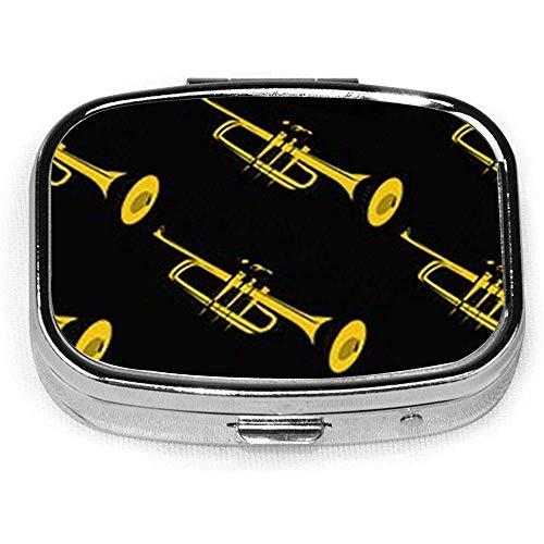 Gouden trompet Aangepaste Mode Zilver Vierkante Pill Box Medicine Tablet Houder Portemonnee Organizer Case voor Pocket of portemonnee