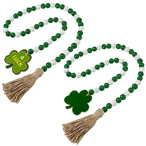 2 Pieces St Patrick's Day Wood Beads Tassels Beaded Garland with Tassels Green Shamrock Pendant Wooden Bead Garland Farmhouse Style Irish Wood Beaded Decor for St Patrick's Day Wall Hanging Ornaments