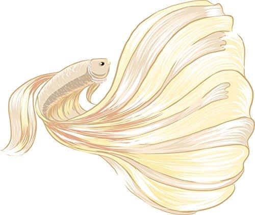 Divine Designs Beautiful Pastel Feminine Betta Fish Cartoon Art Vinyl Decal Sticker (4' Wide, Gold)