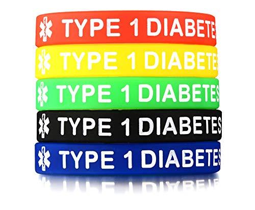 Vnox 5 Pezzi Gomma in Silicone Type 1 Diabetes Braccialetto di Emergenza per Braccialetto a Braccio ID Medico,5 Colori