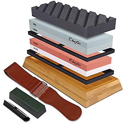 Whetstone Set Premium 2-IN-1 Sharpening Stone 3000/8000 and 400/1000 Grit Waterstone Kit - Knife Sharpener Stone Set Safe Non-Slip Bamboo Base Flattening Stone Included, Polishing Tool for Kitchen