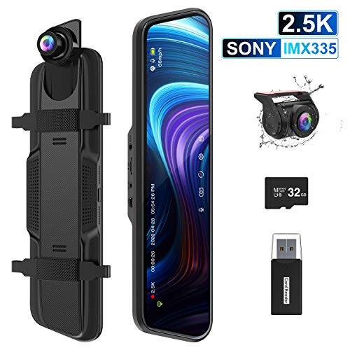 """ThiEYE 2.5K Mirror Dash Cam 10"""" IPS Full Touch Screen Front and Rear Dual Lens Dash Cameras for Cars Waterproof Backup Camera with Sony Sensor, Night Vision, 170° Angle, G-Sensor (32GB Card Included) In-Mirror Video"""