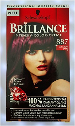 Brillance Intensiv-Color-Creme, 887 Mahagoni Satin, 3er Pack (3 x 1 Stück)
