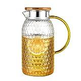 H·Aimee 1.2L/1.5L Vaso Jarra de Agua con Tapa de Bambú y Bocal Dual para Vaso Tetera con Colador