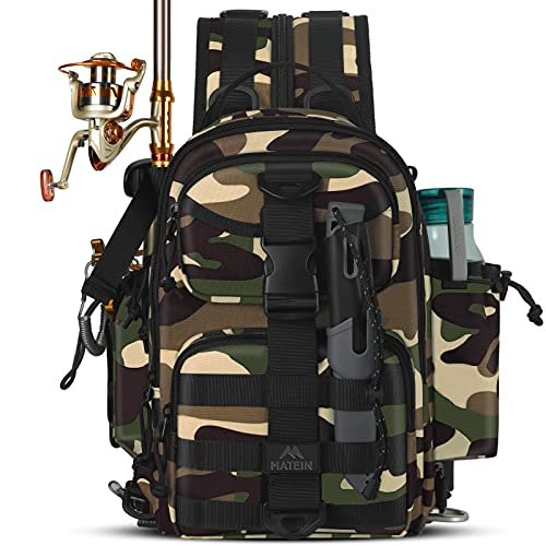 Fishing Backpack, Small Waterproof Fishing Bag for Men with Rod Holder, Wild River Saltwater Surf Tackle Box Backpacks Fish Gear Storage Shoulder Bags for Outdoor Sports Camping Hiking, Camouflage