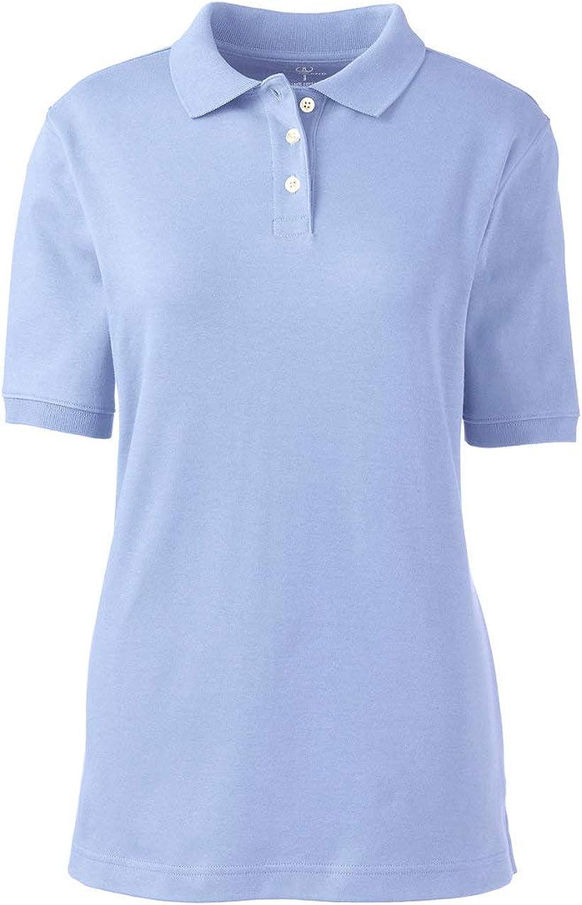 Lands' End School Uniform Women's Short Sleeve Interlock Polo Shirt