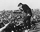 Elvis Presley Poster, Black and White Wallpaper, concert photo print, Elvis with microphone wall decor