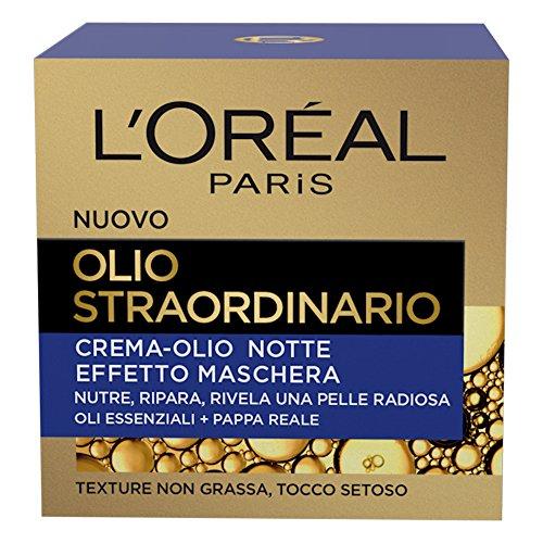 L Oréal Paris Crema Viso Notte Olio Straordinario, Trattamento Nutriente, Arricchito con Oli Essenziali e Pappa Reale, 50 ml, Confezione da 1