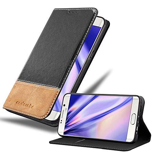 Cadorabo Hülle für Samsung Galaxy S6 Edge Plus - Hülle in SCHWARZ BRAUN – Handyhülle mit Standfunktion und Kartenfach aus Einer Kunstlederkombi - Case Cover Schutzhülle Etui Tasche Book