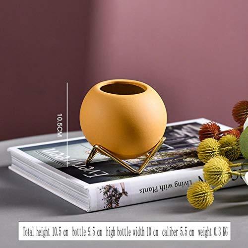 1 stks keramische kleine bloempot ronde bal smeedijzeren desktop beugel vaas decoratie ornamenten bloemen bloemschikken nordic, geel