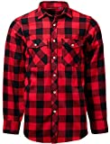 J.VER Hombre Camisas Casual Franela Ajuste Regular Algodón Manga Larga Camisas a Cuadros Estudiante - Color:Rojo y Negro, tamaño:EU-X-Large-Tall