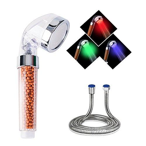 VEYETTE Soffione Doccia LED Temperatura Massaggio Spa Doccetta Acqua della Testa di Risparmio Filtro Ioni Negativi 150MM Tubo