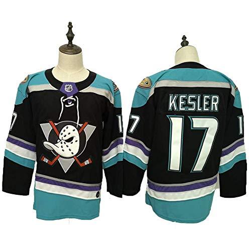 Yajun Corey Perry#10/ Ryan Getzlaf#15/Ryan Kesler#17 Anaheim Ducks Camisetas Hockey Jersey sobre Hielo NHL Hombre Ropa Respirable T-Shirt de Manga Larga,17-Black-Blue,XL/54