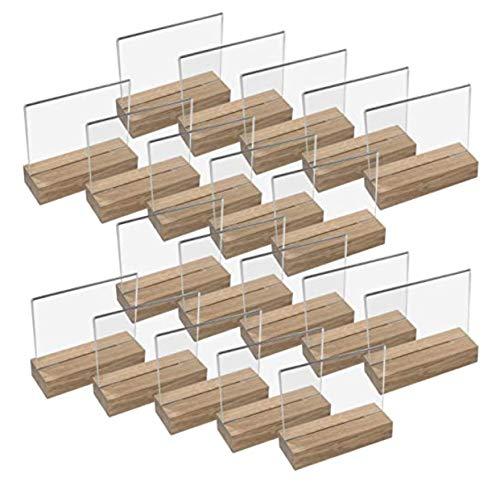 Porta menús de Acrílico con Base de Madera   Soporte sobremesa   Metacrilato transparente   (20 UNIDADES, A6 - Horizontal)