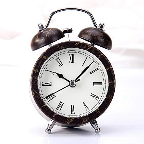 CZHJG Kreative Metall Mode Schwarz Bronze Uhr Student Schlafzimmer Nacht Stumm Mit Licht 3 Zoll Klingel Wecker A
