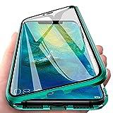 Kompatibel für Huawei P30 Pro (6,47 Zoll) Hülle,Stark Magnetische Adsorption Metallrahmen Flip Handyhülle 360 Grad Komplett Schutzhülle Vorne und Hinten Gehärtetes Glas Transparente Cover,Grün