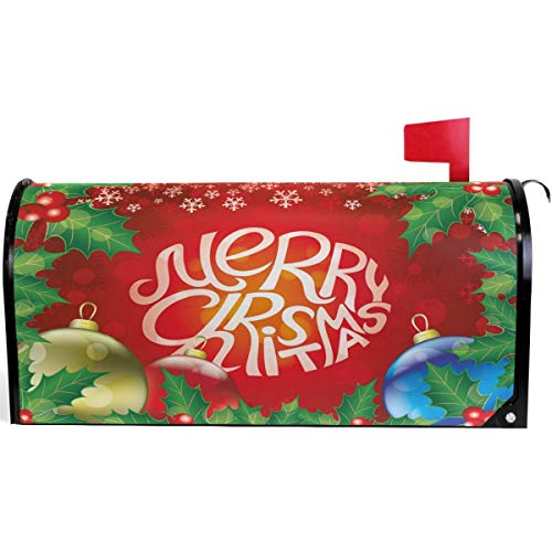 SUNNM Merry Christmas Poinsettia Flower Mailbox Cover Magnetic Standard Size, Winter Red Ball Letter Post Box Cover Wrap Decoration Welcome Home Garden Outdoor 21' Lx 18' W