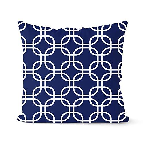 PPMP Funda de cojín Azul Marino, Funda de Almohada geométrica, Almohada Decorativa, decoración del hogar, Funda de Almohada, Funda de cojín A7, 45x45cm, 1pc