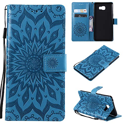 Janeqi Cover Samsung Galaxy C9 PRO - Flip Cover + Card + Staffa + Custodia Anti-Caduta in Pelle Case Cover per Samsung Galaxy C9 PRO [Blu]