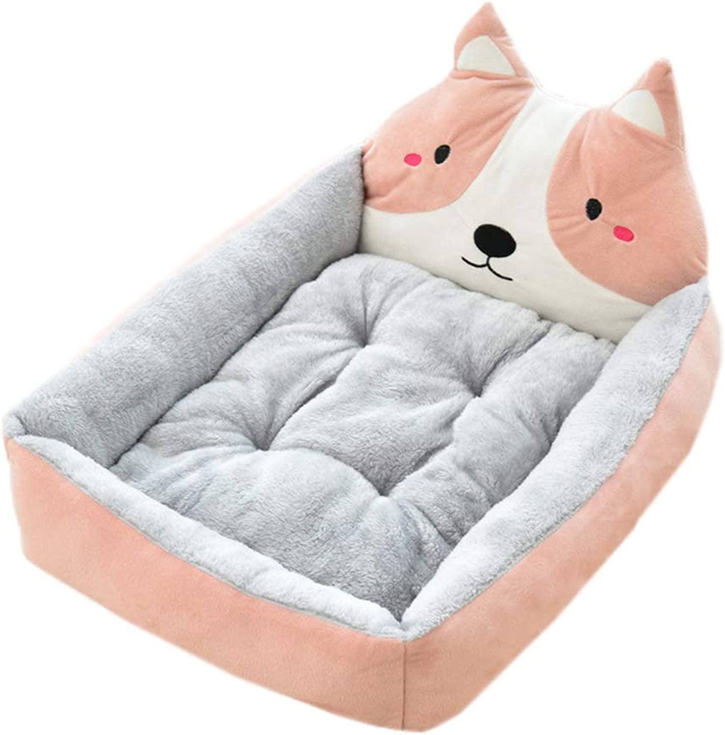Dog Removable and Washable Mat Bed Winter Cartoon Plush Animals Pet Cushion Small,Medium Size Pet Dogs Warm Bed Cushion (XL, Pink)