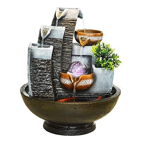 KOIUJ Indoor-Wasser-Brunnen Rockery-Wasser-Brunnen Feng Shui Schalten Wasser Dekoration Heim Wohnzimmer Tisch Aquarium Dekoration