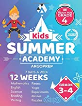 Kids Summer Academy by ArgoPrep - Grades 3-4: 12 Weeks of Math, Reading, Science, Logic, Fitness and Yoga   Online Access Included   Prevent Summer Learning Loss