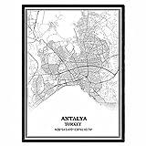 Antalya Truthahn Karte Wandkunst Leinwand drucken Poster